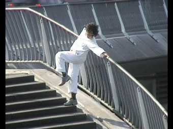 "dancer Aharona Israel, still from video by Geeske Kanters for project ""Perambulacão"", Rotterdam 2005"